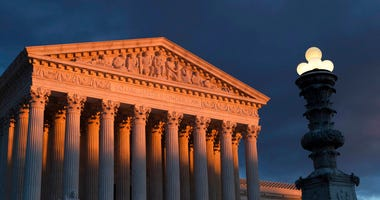 FILE - In this Jan. 24, 2019 file photo, the Supreme Court is seen at sunset in Washington. (AP Photo/J. Scott Applewhite)