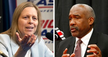 FILE - At left, in a March 12, 2020, file photo, Big East Conference Commissioner Val Ackerman speaks to reporters in New York. At right, in a Dec. 4, 2018, file photo, Ohio State athletics director Gene Smith.  (AP Photo/File)