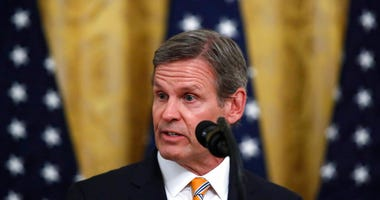 Tennessee Gov. Bill Lee speaks about protecting seniors, in the East Room of the White House, Thursday, April 30, 2020, in Washington.