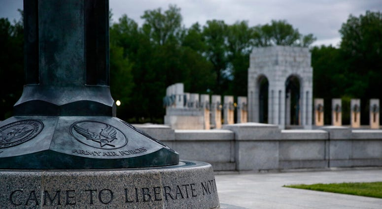 This May 6, 2020, photo shows the World War II Memorial in Washington. May 8, 2020 will mark the 75th anniverary of Nazi Germany's surrender, ending World War II in Europe.
