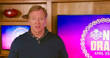 FILE - In this still image from video provided by the NFL, NFL Commissioner Roger Goodell during the NFL football draft, Saturday, April 25, 2020.