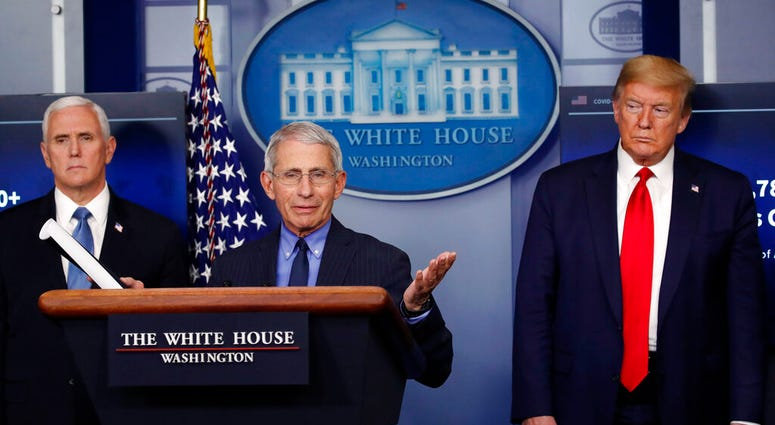 FILE - In this April 17, 2020, file photo, President Donald Trump and Vice President Mike Pence listen as Dr. Anthony Fauci, director of the National Institute of Allergy and Infectious Diseases, speaks about the coronavirus in the James Brady Press Brief