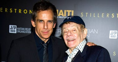In this Feb. 11, 2011, photo, Ben Stiller, left, and his father Jerry Stiller arrive at the Help Haiti benefit honoring Sean Penn hosted by the Stiller Foundation and The J/P Haitian Relief Organization, in New York.