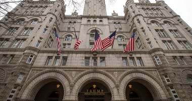 FILE - In this Jan. 4, 2019 file photo, the Trump International Hotel, is shown in Washington. A federal appeals court has revived a lawsuit accusing President Donald Trump of illegally profiting off the presidency through his luxury Washington hotel.