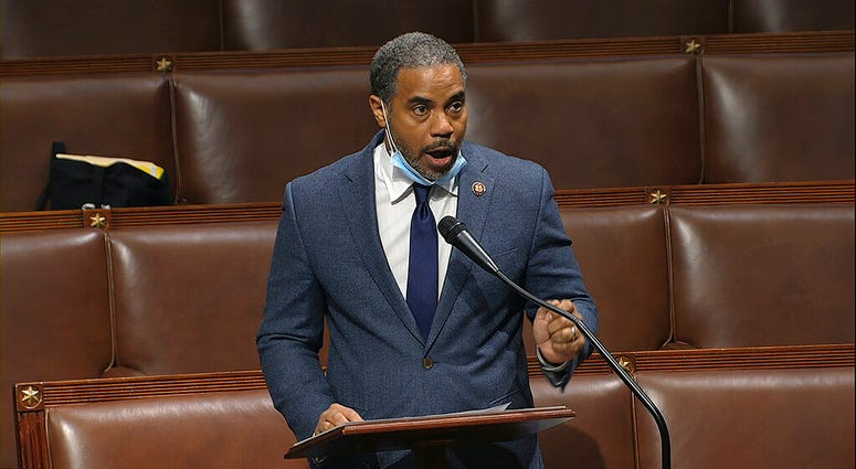 FILE - In this Thursday, April 23, 2020, file image taken from video, Rep. Steven Horsford, D-Nev., speaks on the floor of the House of Representatives at the U.S. Capitol in Washington. Horsford, on Saturday, May 16, acknowledged he had an extramarital a