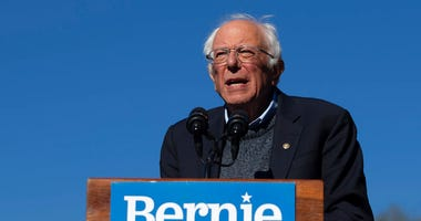 FILE - In this Oct. 19, 2019 file photo, Democratic presidential candidate Sen. Bernie Sanders, I-Vt., speaks to supporters during a rally in New York.  (AP Photo/Eduardo Munoz Alvarez)