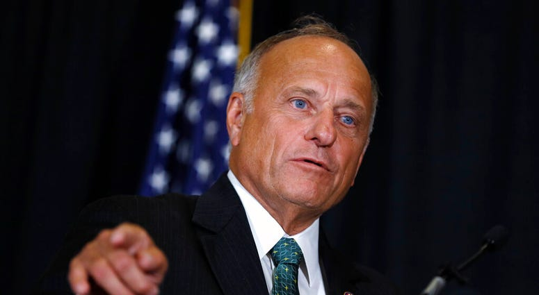 FILE - In this Aug. 23, 2019, file photo, Rep. Steve King, R-Iowa, speaks during a news conference in Des Moines, Iowa.