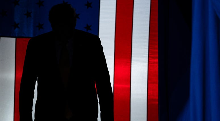 FILE - In this Feb. 20, 2020, file photo President Donald Trump arrives to speak at a campaign rally at The Broadmoor World Arena in Colorado Springs, Colo.