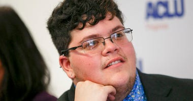 FILE - In this July 23, 2019, file photo, Gavin Grimm, who has become a national face for transgender students, speaks during a news conference held by The ACLU and the ACLU of Virginia at Slover Library in Norfolk, Va. (Kristen Zeis/The Daily Press via A