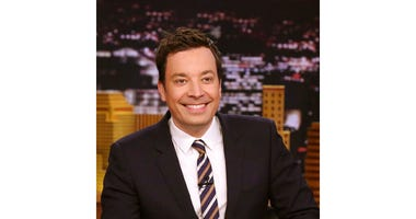 "In this April 20, 2017 photo released by NBC, Jimmy Fallon, host of ""The Tonight Show Starring Jimmy Fallon,"" appears during a taping of his show in New York.  (Andrew Lipovsky/NBC via AP)"