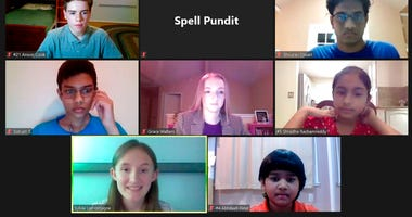 In this screenshot provided by SpellPundit, spellers and organizers of the SpellPundit Online National Spelling Bee participate in semifinals Tuesday night, May 26, 2020.