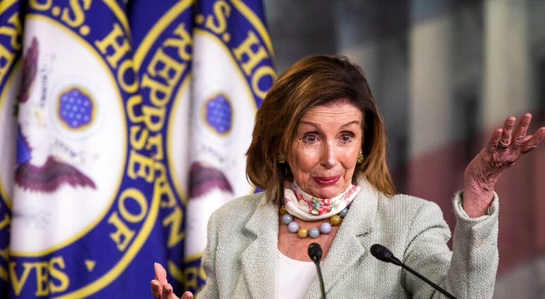 House Speaker Nancy Pelosi of Calif., speaks during a news conference on Capitol Hill, Wednesday, May 27, 2020, in Washington.