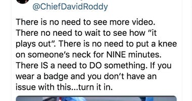 This tweet posted by Chief David Roddy of the Chattanooga, Tenn., Police Department is seen Thursday, May 28, 2020.