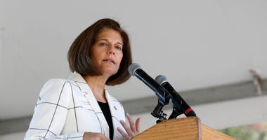 FILE - In this Aug. 20, 2019, file photo Sen. Catherine Cortez Masto, D-Nevada, speaks at the 23rd Annual Lake Tahoe Summit, Tuesday, at South Lake Tahoe, Calif.