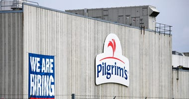 his April 28, 2020 file photo shows the Pilgrim's Pride plant in Cold Spring. Minn.