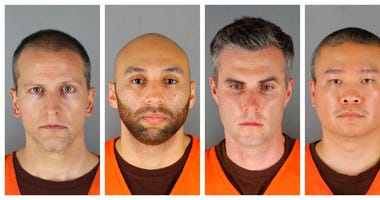 This combination of photos provided by the Hennepin County Sheriff's Office in Minnesota on Wednesday, June 3, 2020, shows Derek Chauvin, from left, J. Alexander Kueng, Thomas Lane and Tou Thao.