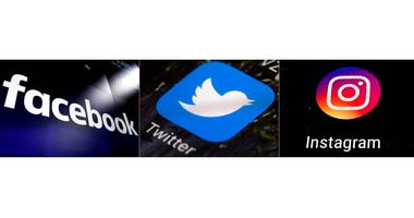 This combination of photos shows logos for social media platforms, from left, Facebook, Twitter and Instagram.