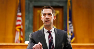 FILE - In this May 5, 2020, file photo Sen. Tom Cotton, R-Ark., speaks during a Senate Intelligence Committee nomination hearing for Rep. John Ratcliffe, R-Texas, on Capitol Hill in Washington.