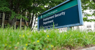 FILE - In this May 26, 2020, file photo, is a sign at the headquarters for Washington state's Employment Security Department at the Capitol in Olympia, Wash.