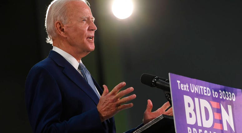 Democratic presidential candidate, former Vice President Joe Biden speaks during an event in Dover, Del., Friday, June 5, 2020. Biden has won the last few delegates he needed to clinch the Democratic nomination for president.