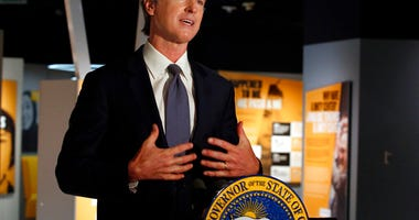 Gov. Gavin Newsom announced that he has ordered the state police training program to stop teaching a neck hold that blocks the flow of blood to the brain, during a news conference in Sacramento, Calif., Friday, June 5, 2020.