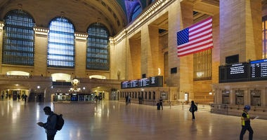 Commuter traffic is light during rush hour in Grand Central Station in New York, Monday, June 8, 2020.  (AP Photo/Seth Wenig)
