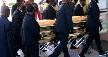 The casket of George Floyd arrives for a public memorial at The Fountain of Praise church in Houston, Monday, June 8, 2020. Floyd died after being restrained by Minneapolis Police officers on May 25. (AP Photo/Eric Gay)
