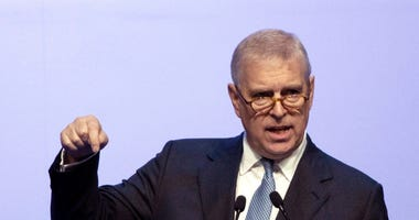 FILE - In this file photo dated Sunday, Nov. 3, 2019, Britain's Prince Andrew delivers a speech during the ASEAN Business and Investment Summit (ABIS) in Nonthaburi, Thailand.
