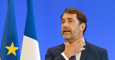 French Interior Minister Christophe Castaner, gestures during a media conference in Paris, Monday, June 8, 2020.