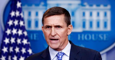 FILE - In this Feb. 1, 2017 file photo, then-National Security Adviser Michael Flynn speaks during the daily news briefing at the White House, in Washington.