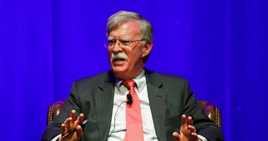 FILE - In this Feb. 19, 2020, file photo, former national security adviser John Bolton takes part in a discussion on global leadership at Vanderbilt University in Nashville, Tenn.