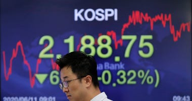 A currency trader walks by a screen showing the Korea Composite Stock Price Index (KOSPI) at the foreign exchange dealing room in Seoul, South Korea, Thursday, June 11, 2020.