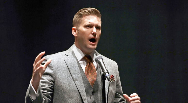 FILE - In this Oct. 19, 2017, file photo, white nationalist Richard Spencer speaks at the University of Florida in Gainesville, Fla.
