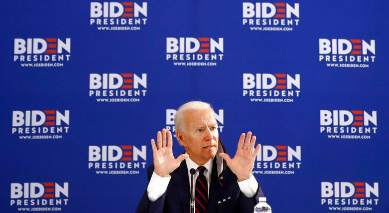 Democratic presidential candidate former Vice President Joe Biden gestures while speaking during a roundtable on economic reopening with community members, Thursday, June 11, 2020, in Philadelphia.