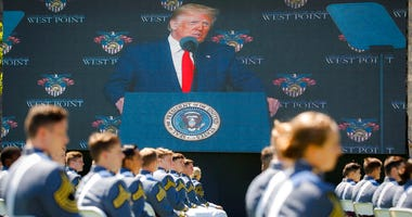 President Donald Trump speaks to United States Military Academy graduating cadets during commencement ceremonies, Saturday, June 13, 2020, in West Point, N.Y.