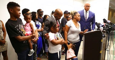 Tomika Miller, the wife of Rayshard Brooks, speaks in his memory with their children by her side saying the heartbroken family was determined that the tragedy of his death spark positive change during a press conference on Monday, June 15, 2020, in Atlant