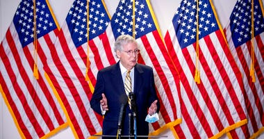 Senate Majority Leader Mitch McConnell, R-Ky., speaks to reporters during a news conference following a Senate policy luncheon on Capitol Hill, Tuesday, June 16, 2020, in Washington.