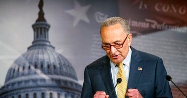In this June 16, 2020 photo, Senate Majority Leader Chuck Schumer of N.Y., speaks during a news conference on Capitol Hill in Washington.