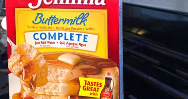 A box of Aunt Jemima pancake mix sits on a stovetop Wednesday, June 17, 2020, in Harrison, N.Y.