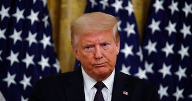 "President Donald Trump speaks about the PREVENTS ""President's Roadmap to Empower Veterans and End a National Tragedy of Suicide,"" task force, in the East Room of the White House, Wednesday, June 17, 2020, in Washington."
