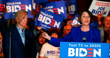FILE - In this Monday, March 2, 2020, file photo, Sen. Amy Klobuchar, D-Minn., endorses Democratic presidential candidate and former Vice President Joe Biden at a campaign rally in Dallas.