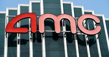 FILE - In this April 29, 2020 file photo, the AMC sign appears; AMC Burbank 16 movie theater complex in Burbank, Calif.