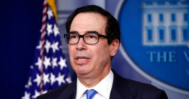 FILE - In this April 21, 2020, file photo Treasury Secretary Steven Mnuchin speaks about the coronavirus in the James Brady Press Briefing Room of the White House in Washington.