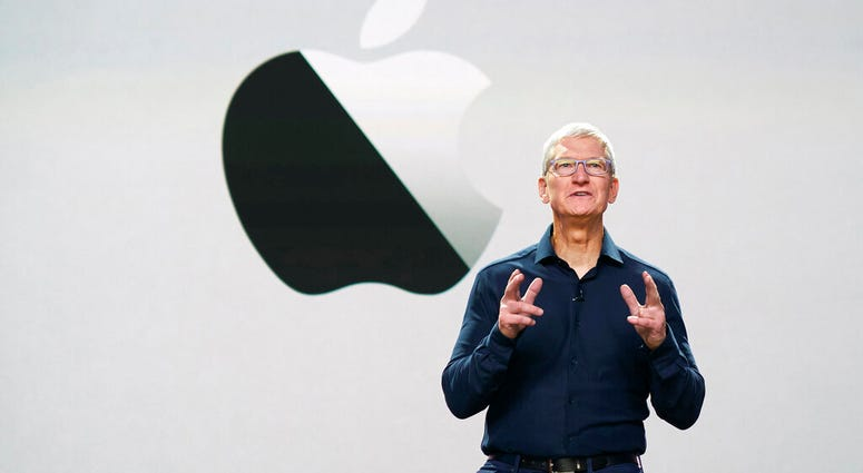 In this photo provided by Apple Inc., CEO Tim Cook delivers the keynote address during the 2020 Apple Worldwide Developers Conference Monday, June 22, 2020, in Cupertino, Calif.