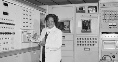 This 1977 photo made available by NASA shows engineer Mary W. Jackson at NASA's Langley Research Center in Hampton, Va.