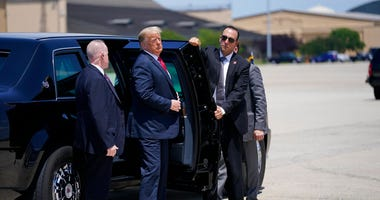 President Donald Trump exits a vehicle before boarding Air Force One for a trip to Wisconsin, Thursday, June 25, 2020, in Andrews Air Force Base, Md.
