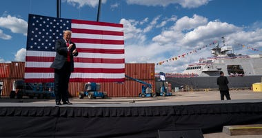 President Donald Trump arrives to speak at Fincantieri Marinette Marine, Thursday, June 25, 2020, in Marinette, Wis.