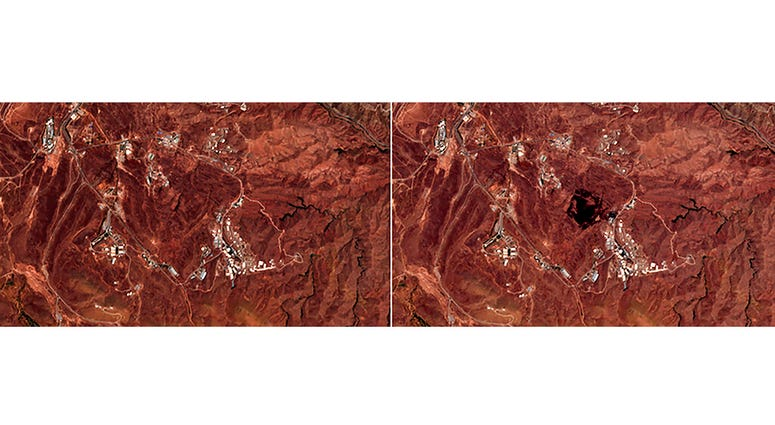 This Friday, June 26, 2020, photo combo from the European Commission's Sentinel-2 satellite shows the site of an explosion, before, left, and after, right, that rattled Iran's capital.