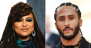 In this combination photo, filmmaker Ava DuVernay appears at the Vanity Fair Oscar Party in Beverly Hills, Calif. on Feb. 9, 2020, left, and Colin Kaepernick attends The Metropolitan Museum of Art's Costume Institute benefit gala in New York on May 6, 201