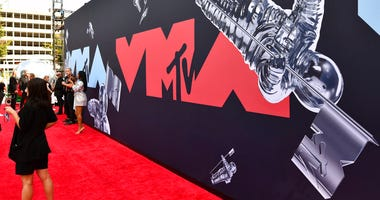 FILE - This Aug. 26, 2019 file photo shows a view of the red carpet at the MTV Video Music Awards in Newark, N.J. An MTV spokesperson said Monday that the show will take place Aug. 30 at the Barclays Center in Brooklyn, New York.